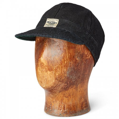 Double RL『STRIPED INDIGO ENGINEER CAP』(BLACK INDIGO WASH)
