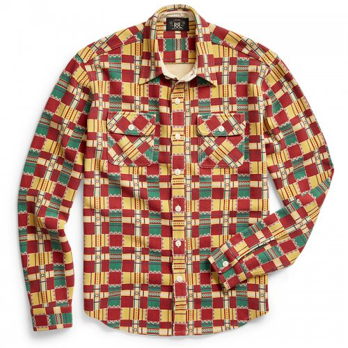Double RL『KNIT OTTOMAN WORK SHIRT』(RED/TEAL MULTI)
