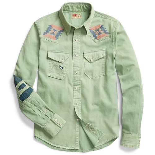 Double RL『SLIM FIT EMBROIDERED DENIM WESTERN SHIRT』(DUSTY TEAL WASH)