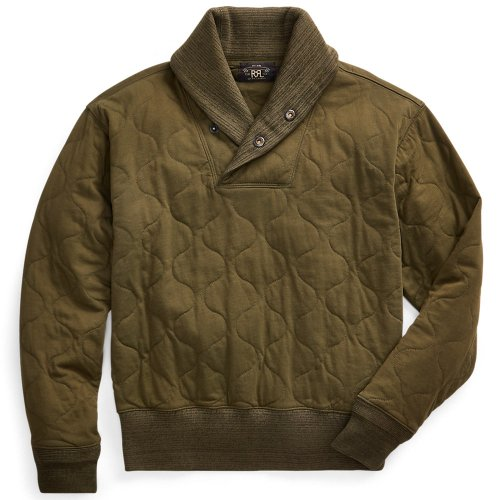 Double RL『QUILTED JERSEY PULLOVER』(OLIVE)