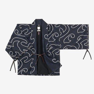 【net限定】ジャカール 宮中袖 短衣 袷/万波 深紺靄(まんぱ しんこんもや)