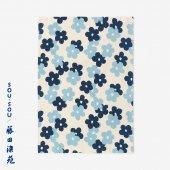 SOU・SOU×藤田染苑 藍捺染 手ぬぐい(ひめ丈)/花がさね 小