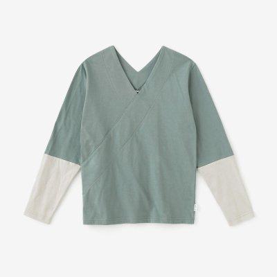 抜衿ジバン 違い袖 三〇単/青磁鼠(せいじねず)×白花鼠(しらはなねず)