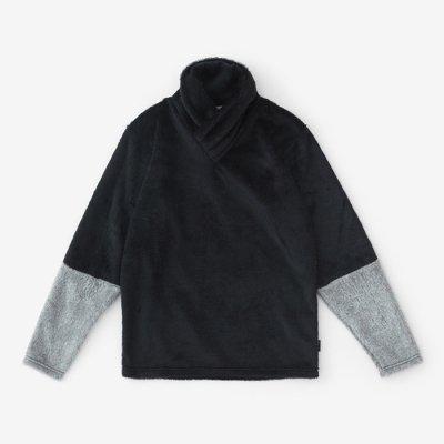 【net限定20%OFF】ボア 衿巻ジバン 違い袖/深紺×素鼠(しんこん×すねず)