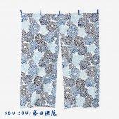 SOU・SOU×藤田染苑 藍捺染 手ぬぐいのれん 2巾/菊づくし