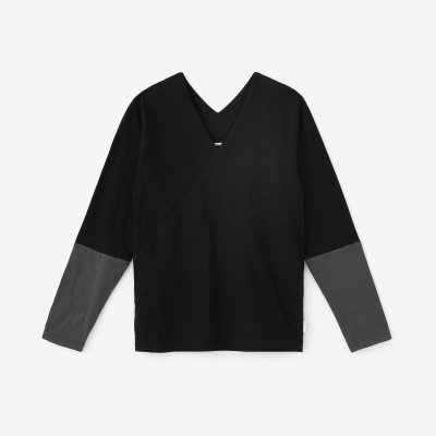 抜衿ジバン 違い袖 三〇単/濡羽色(ぬればいろ)×鉛色(なまりいろ)
