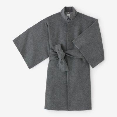 【net限定】ウールフランネル 角袖外套(かくそでがいとう) 袷(あわせ)/杢墨(もくずみ)