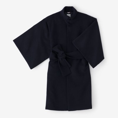 【net限定】ウールフランネル 角袖外套 袷(かくそでがいとう あわせ)/深紺(しんこん)