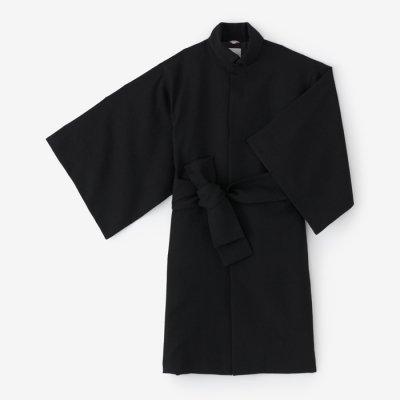 梳毛綾織 角袖外套 袷(そもうあやおり かくそでがいとう あわせ)/濡羽色(ぬればいろ)