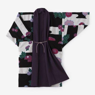 モスリン もじり袖 袷(あわせ)/濃紫×菊(こきむらさき×きく)