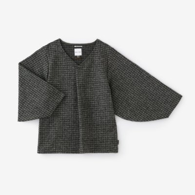 【net限定】斑格子 阿弥 薙刀袖襞衣/杢墨(もくずみ)
