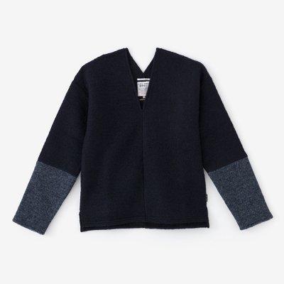 舶来羅紗 違い袖貫頭衣(はくらいらしゃ ちがいそでかんとうい)/濃紺×褐色(のうこん×かちいろ)