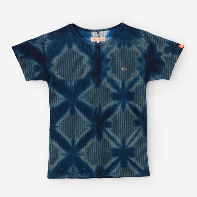 【net限定】たばた絞り 接結ストライプ 型ぬきTシャツ/雪花 濃紺×錆御納戸(せっか のうこん×さびおなんど)