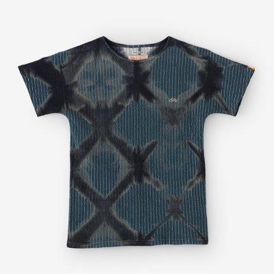 【net限定】たばた絞り 接結ストライプ 型ぬきTシャツ/雪花 濃灰×錆御納戸(せっか こいはい×さびおなんど)