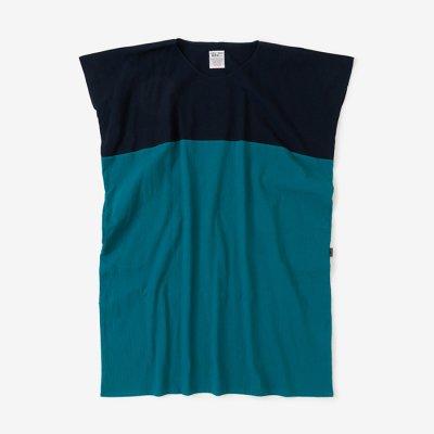 高島縮 20/20 長方形衣 組/留紺×海緑色(とめこん×かいりょくしょく)
