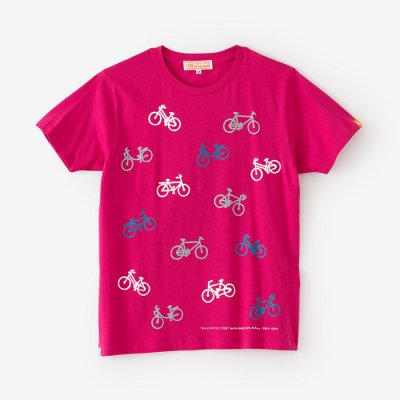 【net限定】チャリンチャリン 三味 半袖Tシャツ/つつじ色