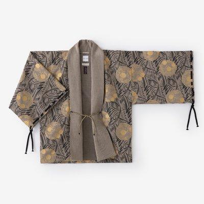 【net限定30%OFF】綿麻綾織 宮中袖 短衣 単(きゅうちゅうそで たんい ひとえ)/草紋 茶鼠(そうもん ちゃねず)
