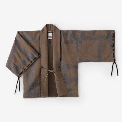 綿麻綾織 宮中袖 短衣 単(きゅうちゅうそで たんい ひとえ)/がんじがらめ 灰茶(はいちゃ)