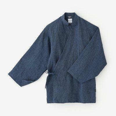 【net限定30%OFF】麻シャンブレー織 手柄作務衣(たかみさむえ)/深縹鼠(こきはなだねず)