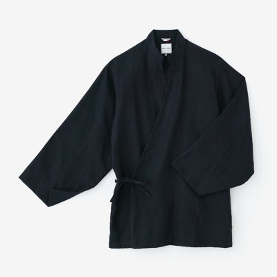 【net限定】麻 手柄作務衣(たかみさむえ)/深紺(しんこん)