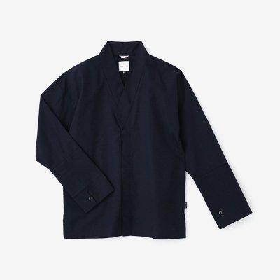 【net限定】綿麻シャンブレー織 筒袖襯衣/深紺(しんこん)