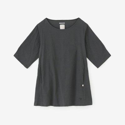 高島縮 六分袖チュニック/濃鉛(こいなまり)