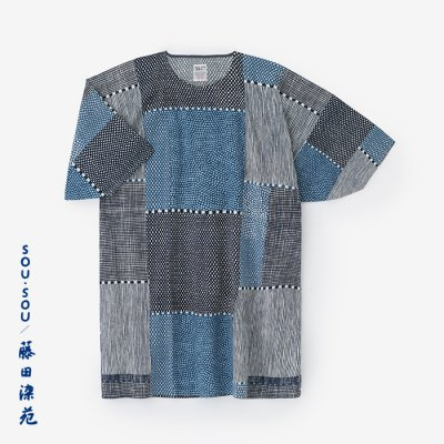 【net限定】高島縮 20/20 藍捺染 薙刀長方形衣(なぎなたちょうほうけい)/間がさね(まがさね)