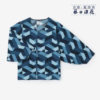 【net限定】高島縮 藍捺染 薙刀袖襞(なぎなたそでひだ)ジバン/たがいちがい