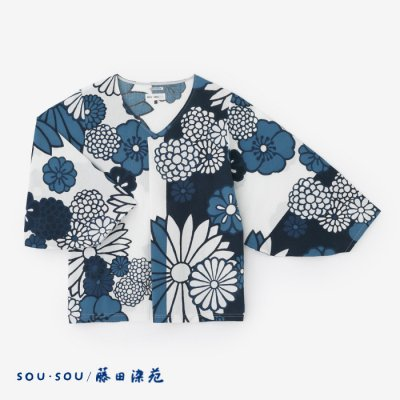 高島縮 藍捺染 薙刀袖襞(なぎなたそでひだ)ジバン/金襴緞子(きんらんどんす)