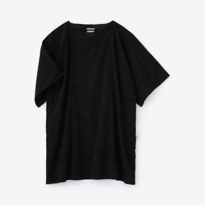 高島縮 40/40 平袖(ひらそで)ボートネックチュニック/濡羽色(ぬればいろ)