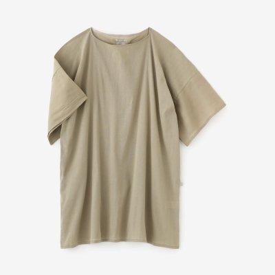 高島縮 40/40 平袖(ひらそで)ボートネックチュニック/白橡(しろつるばみ)