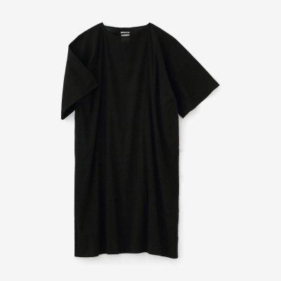 高島縮 40/40 平袖(ひらそで)ボートネックワンピース/濡羽色(ぬればいろ)