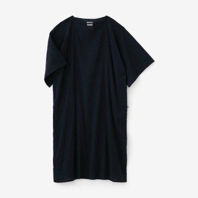 高島縮 40/40 平袖(ひらそで)ボートネックワンピース/留紺(とめこん)