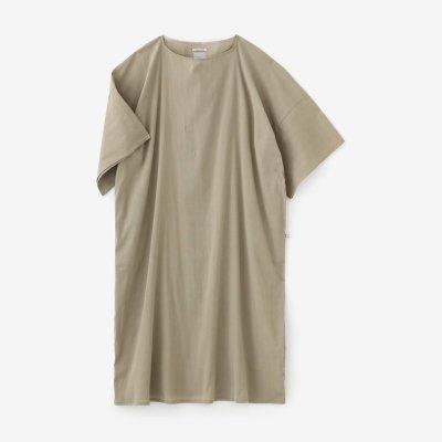 高島縮 40/40 平袖(ひらそで)ボートネックワンピース/白橡(しろつるばみ)