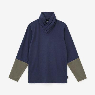 【net限定】衿巻ジバン 違い袖/鉄紺×海松色(てつこん×みるいろ)