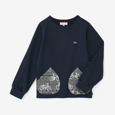 【net限定】ミニ裏毛 ボートネックスウェットシャツ/濃紺(のうこん)×チャリンチャリン