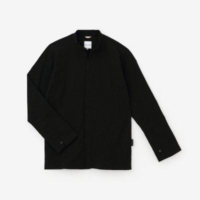 高島縮 立衿 筒袖襯衣(たかしまちぢみ たちえり つつそでしんい)/濡羽色(ぬればいろ)