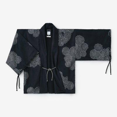 【net限定】フェイクスエード 宮中袖 短衣 単(きゅうちゅうそで たんい ひとえ)/雲間に菊 (くもまにきく) 深紺(しんこん)