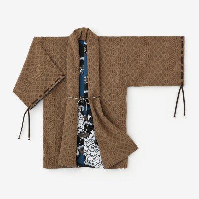 ジャカール 宮中袖(きゅうちゅうそで) 間(けん) 袷(あわせ)/土色×傾く(かぶく)