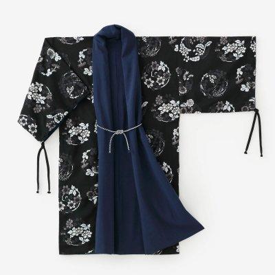 モスリン 宮中袖 袷(あわせ)/濃紺(のうこん)×花丸文様(はなまるもんよう)