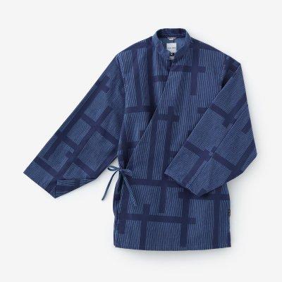 綿フランネル 手柄作務衣(たかみさむえ)/よろけ縞(じま) 桟(さん) 薄縹(うすはなだ)