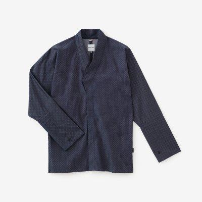 インディゴ 行儀小紋(ぎょうぎこもん) 筒袖襯衣(つつそでしんい)/濃鼠(こいねず)
