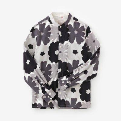 高島縮20/20 スタンドカラーシャツ/おおらかとりどり