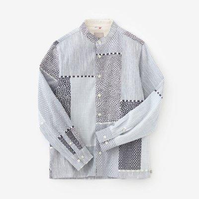 高島縮20/20 スタンドカラーシャツ/間がさね