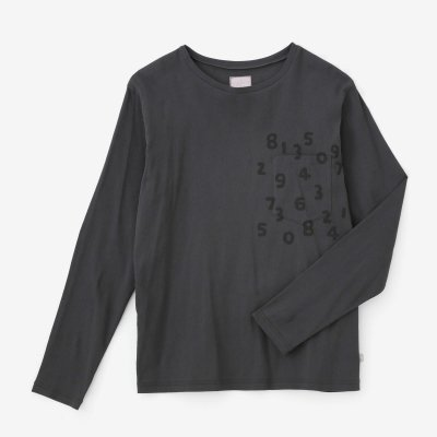 高島縮 40/40 長袖ポケットTシャツ/濃鉛(こいなまり)×SO-SU-U昆(こん)
