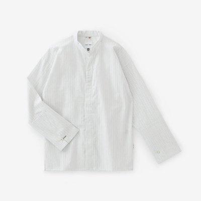 インディゴ間道(かんとう) 立衿(たちえり) 筒袖襯衣(つつそでしんい)/鳥の子色(とりのこいろ)
