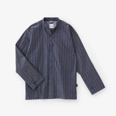 インディゴ間道(かんとう) 立衿(たちえり) 筒袖襯衣(つつそでしんい)/紺鼠(こんねず)