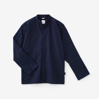 インディゴ間道(かんとう) 立衿(たちえり) 筒袖襯衣(つつそでしんい)/青褐(あおかち)