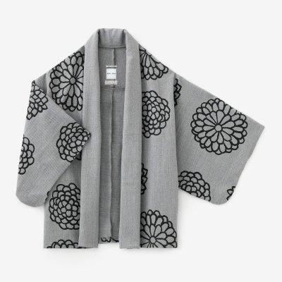 梳毛カージー織 小袖莢(こそでさや)/大菊(おおぎく) 杢灰(もくはい)