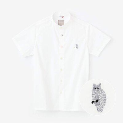 クールマックスストレッチ スタンドカラー 半袖シャツ/つくも×ふくろう